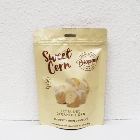 Biopont Bio fehércsokoládéval bevont extrudált kukorica (65g)