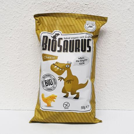 BIOSAURUS Kukorica alapú extrudált sajtos csemege (50g)