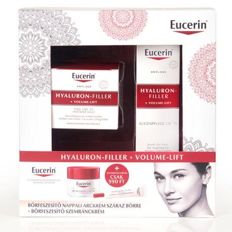 Eucerin Hyaluron-Filler+Volume-Lift nappali arckrém száraz bőrre +szemránckrém csomag