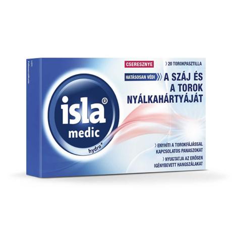 Isla-Medic Hydro+ torokpasztilla Cseresznye 20x