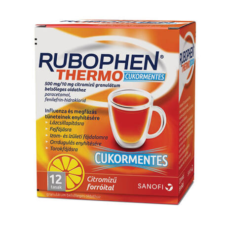 Rubophen Thermo cukormentes 500mg/10mg citromízű 12x