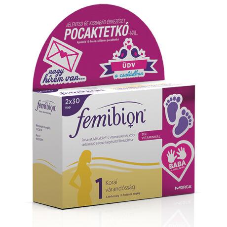 Femibion 1 +D3 filmtabletta +pocaktetkó 2 havi adag 30+30db