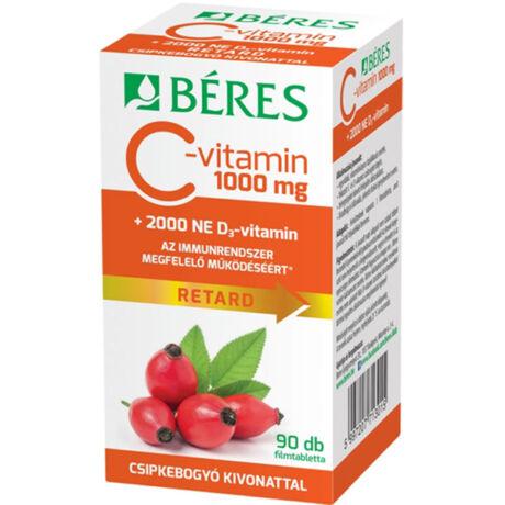 Béres C-vitamin 1000mg RETARD +csipkebogyó kivonat +2000NE D3-vitamin 90x