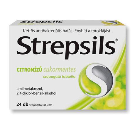 Strepsils citromízű cukormentes szopogató tabletta 24x