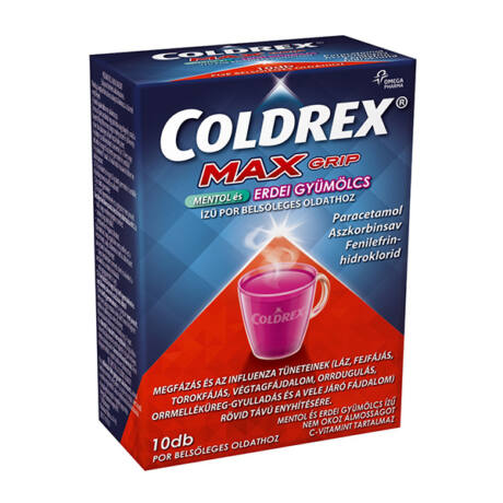 Coldrex MaxGrip mentol és erdei gyümölcs ízű por 10x