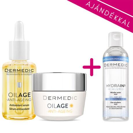 Dermedic OILAGE csomag (nappali krém+szérum+micellás víz)