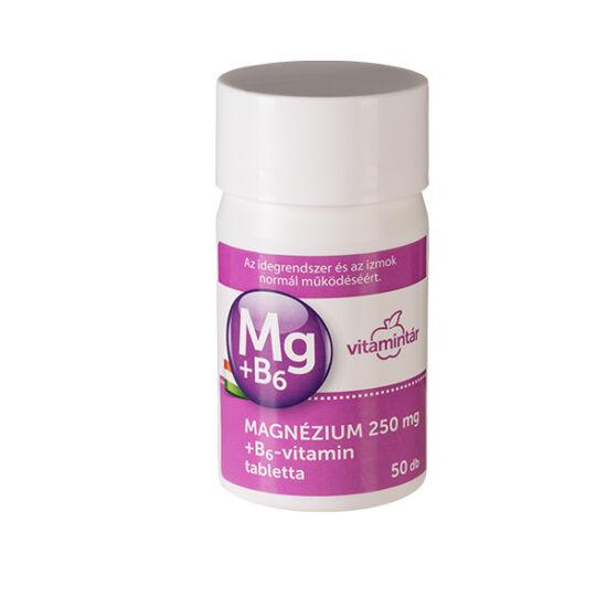 Vitamintár Magnézium 250 mg + B6-vitamin tabletta 50x