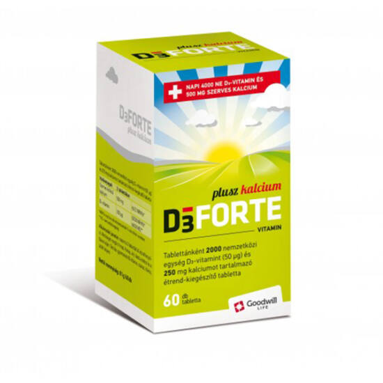 D3 Forte Plusz Kalcium vitamin tabletta (60x)