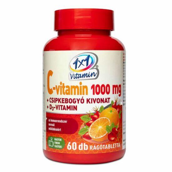 1X1 C-Vitamin 1000mg+D3+csipkebogyó rágótabletta narancs 60x
