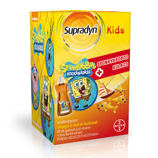 Supradyn Kids multivitamin gumic. 60x + ajándék Spongyabobos Kulacs