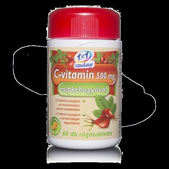 1X1 Vitaday C-vitamin 500 mg rágótabletta csipkeb. (60x)